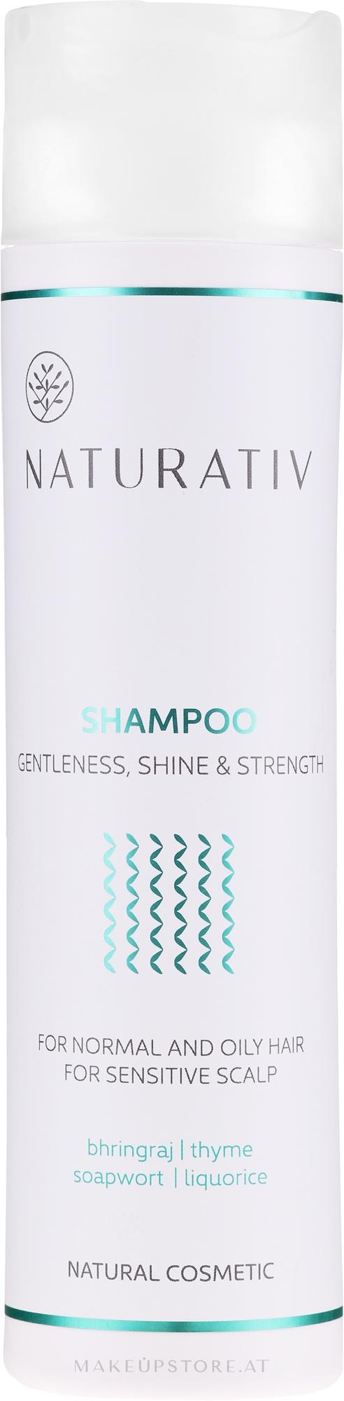 Shampoo für normales bis fettiges Haar und empfindliche Kopfhaut - Naturativ Getleness Shine&Strength Shampoo — Bild 250 ml