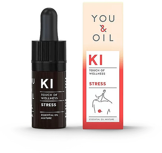 Bioaktive ätherische Ölmischung aus Bergamotte, Lavendel und Geranie gegen Depressionen, Angstzustände - You & Oil KI-Stress Touch Of Welness Essential Oil