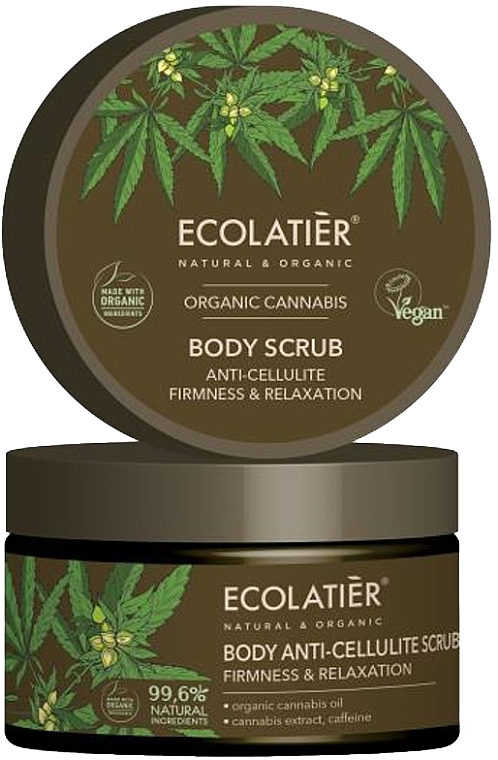 Straffendes und Anti-Cellulite Körperpeeling mit Bio-Cannabisöl, Koffein und Cannabisextrakt - Ecolatier Organic Cannabis Body Scrub