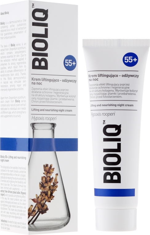 Pflegende Nachtcreme mit Lifting-Effekt - Bioliq 55+ Lifting And Nourishing Night Cream