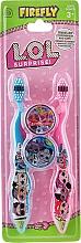 Düfte, Parfümerie und Kosmetik Zahnbürsten-Set für Kinder blau, rosa - Ep Line LOL Surprise (Zahnbürsten weich 2 St. + Zahnbürstenkappe 2 St.)