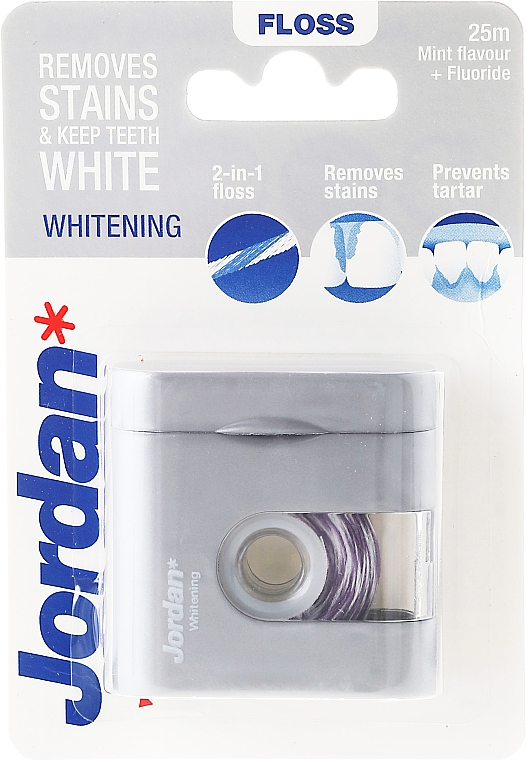2in1 Aufhellende Zahnseide mit Minzgeschmack und Fluorid 25 m - Jordan Whitening Floss