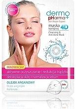 Düfte, Parfümerie und Kosmetik Reinigende Tuchmaske gegen Akne mit Arganöl - Dermo Pharma Skin Repair Expert Cleansing Anti Acne Mask 4D