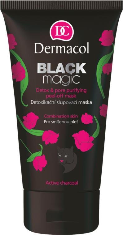 Entgiftende Peelingmaske mit Aktivkohle und Aloe Vera - Dermacol Black Magic Detox&Pore Purifying Peel-Off Mask