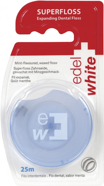 Gewachste Zahnseide mit Minzgeschmack 25 m - Edel+White Expanding Floss — Bild N1