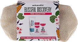 Düfte, Parfümerie und Kosmetik Körperpflegeset - Schmidt's Blissful Discovery (Zahnpasta 100ml + Deo Stick 58ml + Seife 142g + Kosmetiktasche)