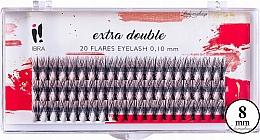 Düfte, Parfümerie und Kosmetik Wimpernbüschel 8 mm - Ibra Extra Double 20 Flares Eyelash C 8 mm