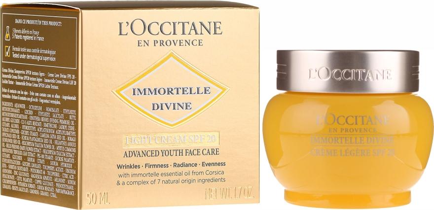 Leichte Anti-Falten Tagescreme mit ätherischen Ölen SPF 20 - L'Occitane Immortelle Divine Cream SPF 20 Advanced Youth Care