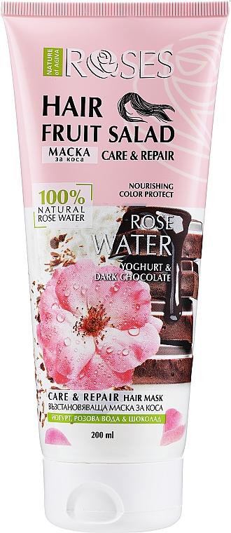Regenerierende Haarmaske mit Yoghurt, Rosenwasser und Schokolade - Nature of Agiva Roses Hair Fruit Salad Hair Mask