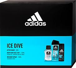 Düfte, Parfümerie und Kosmetik Adidas Ice Dive - Duftset (After Shave Lotion 50ml + Deospray 150ml + Duschgel 250ml)