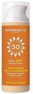 Wasserfestes getöntes Sonnenschutzfluid für das Gesicht SPF 50 - Dermacol Sun Tinted Water Resistant Fluid SPF50