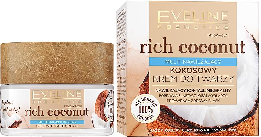 Feuchtigkeitsspendende und glättende Gesichtscreme mit Kokosnuss - Eveline Cosmetics Rich Coconut Face Cream