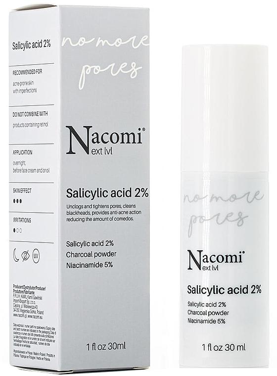 Gesichtsserum gegen Unvollkommenheiten mit 2% Salicylsäure, Aktivkohle und Vitamin B3 - Nacomi Next Level Salicylic Acid 2%