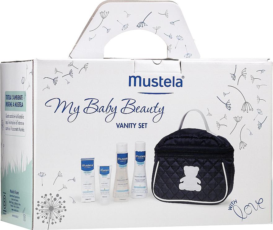 Haar- und Körperpflegeset für Babys - Mustela My Baby Beauty Vanity Set (Shampoo 200ml + Badeschaum 200ml + Gesichtscreme 40ml + Kosmetiktasche)