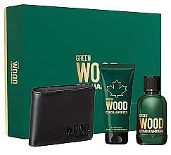 Düfte, Parfümerie und Kosmetik Dsquared2 Green Wood Pour Homme - Duftset (Eau de Toilette 100ml + Duschgel 100ml + Geldbörse)
