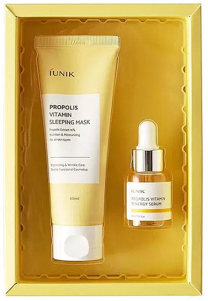 Gesichtspflegeset - iUNIK Propolis Edition Skin Care Set (Schlafmaske 60ml + Gesichtsserum 15ml)