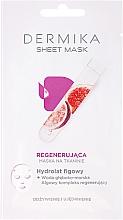 Düfte, Parfümerie und Kosmetik Regenerierende Tuchmaske für das Gesicht mit Feigenhydrolat - Dermika Sheet Mask
