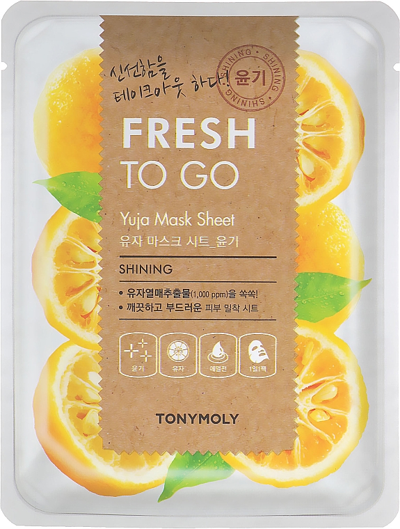 Aufhellende Tuchmaske für das Gesicht mit Yuja-Extrakt - Tony Moly Fresh To Go Mask Sheet Yuja