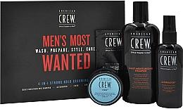 Düfte, Parfümerie und Kosmetik Haarpflegeset für Männer - American Crew Men's Most Wanted Strong Hold (Shampoo 250ml + Haarpaste 50g + Haarspray 100ml + Gesichtsbalsam 7.4ml)