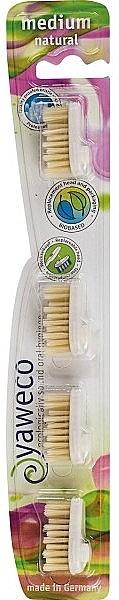 Austauschbare Zahnbürstenköpfe mittelhart 4 St. - Yaweco Replaceable Toothbrush Brush Heads Natural Medium