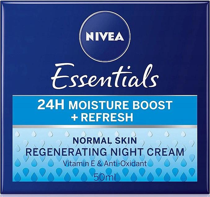 Regenerierende Nachtcreme für normale Haut mit Vitamin E - Nivea Essentials 24H Moisture Boost + Refresh Cream