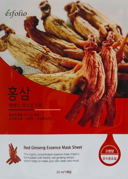 Feuchtigkeitsspendende und glättende Tuchmaske für das Gesicht mit rotem Ginseng-Extrakt - Esfolio Red Ginseng Essence Mask Sheet