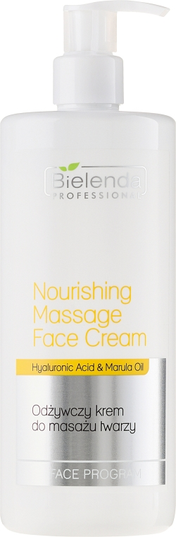 Pflegende Massagecreme für Gesicht mit Hyaluronsäure und Marulaöl - Bielenda Professional Face Program Nourishing Massage Face Cream