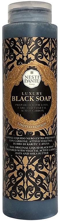 Luxuriöse schwarze Flüssigseife mit Aktivkohle, Hafer und Sheabutter - Nesti Dante Luxury Black Soap