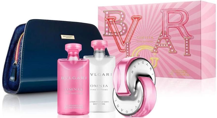 Bvlgari Omnia Pink Sapphire - Duftset (Eau de Toilette 65ml + Körperlotion 75ml + Duschgel 75ml + Kosmetiktasche) — Bild N1