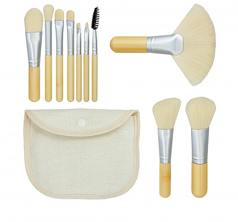 Make-up Pinselset Bamboo White 10 St. + Etui - Tools For Beauty