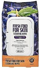 Düfte, Parfümerie und Kosmetik Gesichtsreinigungstücher mit Trauben für empfindliche Haut  - Superfood For Skin Fresh Food Facial Cleansing Wipes