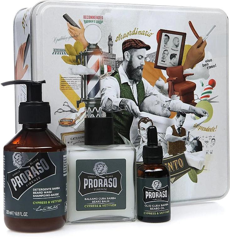 Bartpflegeset - Proraso Cypress & Vetyver Beard Kit (Balsam 100ml + Shampoo 200ml + Öl 30ml)