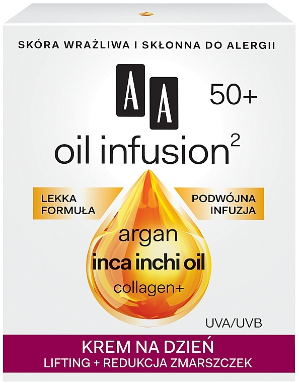 Anti-Falten Lifting Tagescreme mit Arganöl und Collagen - AA Oil Infusion Day Lifting Cream For Wrinkles 50+ — Bild N1