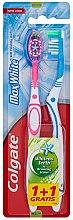 Düfte, Parfümerie und Kosmetik Zahnbürsten-Set Max White Mittel rosa und blau 2 St. - Colgate Max White Medium Polishing Star