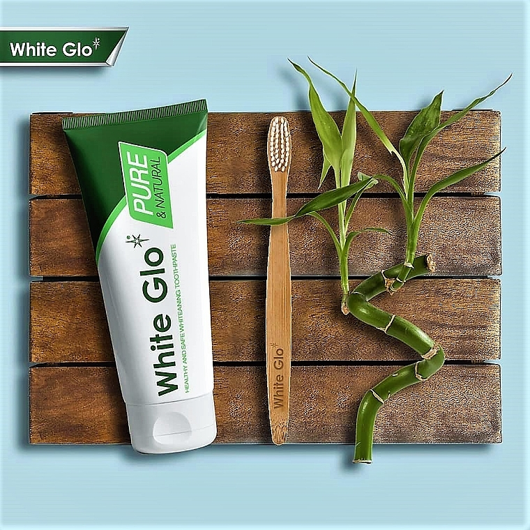Zahnpflegeset - White Glo Pure & Natural (aufhellende Zahnpasta 85 ml & Bamboo-Zahnbürste 1 St.) — Bild N2