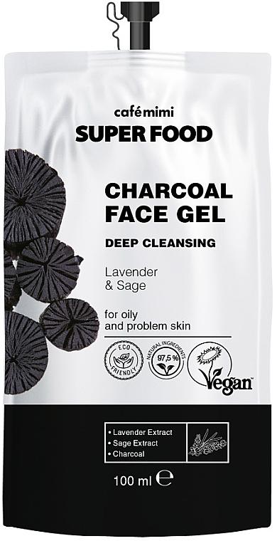 Tiefreinigendes Gesichtsreinigungsgel mit Holzkohle, Lavendel- und Salbeiextrakt für fettige und Problemhaut - Cafe Mimi Super Food
