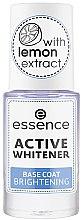 Düfte, Parfümerie und Kosmetik Nagelaufheller zum Schutz vor Verfärbungen mit Zitronenextrakt - Essence Active Whitener Base Coat Brightening