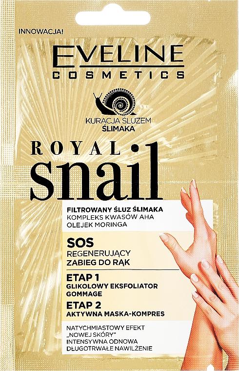 Regenerierende Peelingmaske für die Hände mit Moringa-Öl und Säurekomplex - Eveline Cosmetics Royal Snail Sos Regenerating Hand Treatment