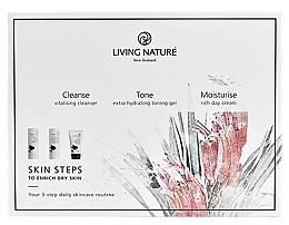 Düfte, Parfümerie und Kosmetik Gesichtspflegeset - Living Nature Skin Steps To Enrich Dry Skin (Gesichtsreinigungsmilch 50ml + Gesichtsgel 50ml + Gesichtscreme 50ml)