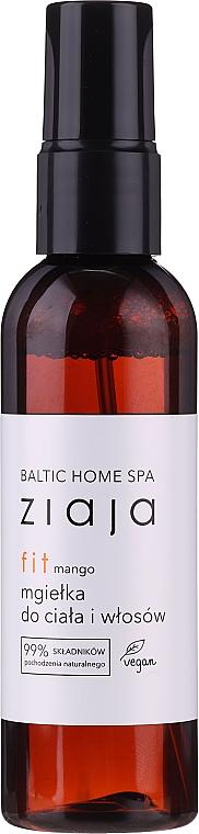 Erfrischender Körper- und Haarnebel mit Mangoduft, Feigenextrakt und Provitamin B5 - Ziaja Baltic Home Spa FIT Mango Body and Hair Mist