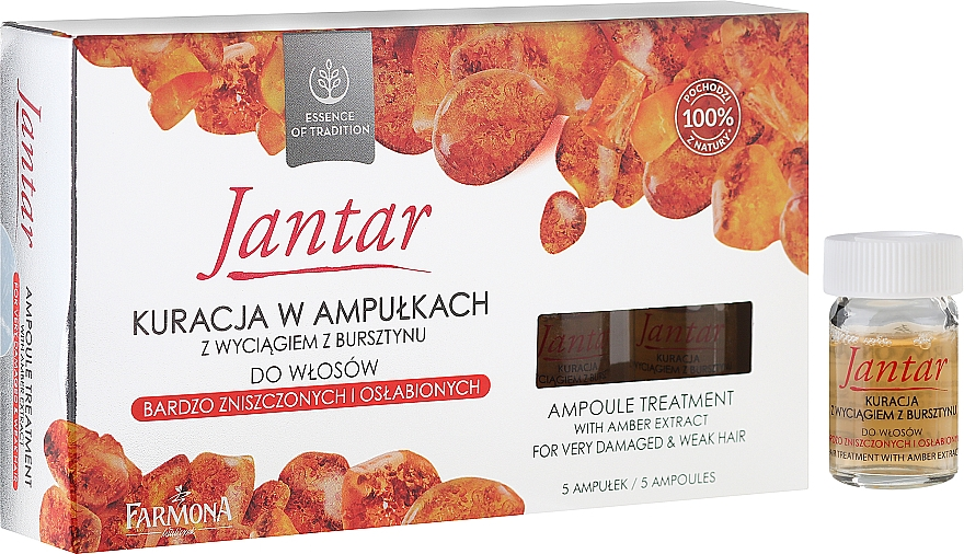 Haarampullen mit Bernsteinextrakt für stark geschädigtes und feines Haar - Farmona Jantar Hair Treatment In Ampoules