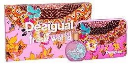 Düfte, Parfümerie und Kosmetik Desigual Fresh World - Duftset (Eau de Toilette 100ml + Kosmetiktasche)