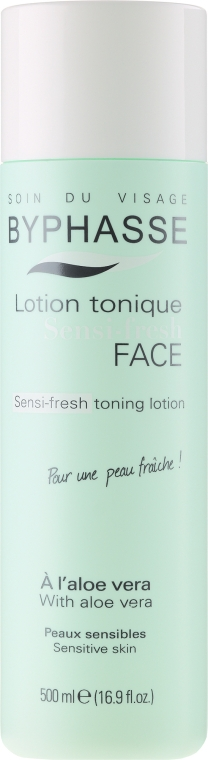 Erfrischendes Gesichtswasser für empfindliche Haut mit Aloe Vera - Byphasse Sensi-fresh Aloe Vera Toning Lotion
