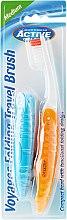 Düfte, Parfümerie und Kosmetik Klappbare Reisezahnbürste mittel orange, blau 2 St. - Beauty Formulas Voyager Active Folding Dustproof Travel Toothbrush Medium