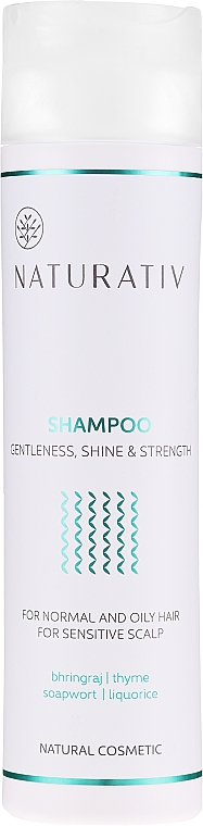 Shampoo für normales bis fettiges Haar und empfindliche Kopfhaut - Naturativ Getleness Shine&Strength Shampoo — Bild N1