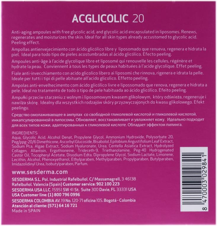 Anti-Aging-Ampullen mit freier Glykolsäure - SesDerma Laboratories Acglicolic 20 Ampoules — Bild N3
