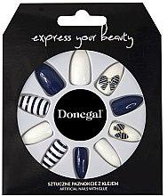 Düfte, Parfümerie und Kosmetik Künstliche Fingernägel inkl. Kleber blau mit weiß - Donegal Express Your Beauty