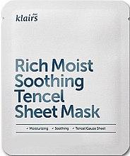 Düfte, Parfümerie und Kosmetik Intensiv feuchtigkeitsspendende und beruhigende Tuchmaske - Klairs Rich Moist Soothing Tencel Sheet Mask