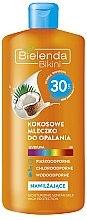 Düfte, Parfümerie und Kosmetik Feuchtigkeitsspendende Sonnenschutzmilch mit Kokosnussöl SPF 30 - Bielenda Bikini Moisturizing Suntan Milk