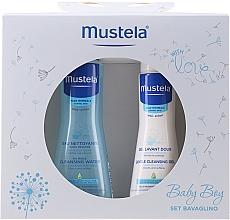 Düfte, Parfümerie und Kosmetik Körperpflegeset für Babys - Mustela Baby Boy Bavaglino Set Blue (Reinigungsgel für Babys 200ml + Reinigungswasser 300ml + Lätzchen aus Baumwolle und Mikrofaser)